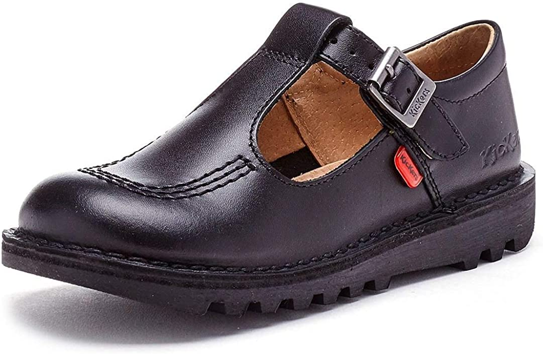 Kickers Kick T I Black Leather Infant School Shoes
