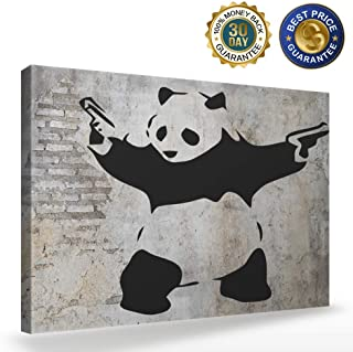 Animal Canvas Wall Art Panda Pictures for Wall Decor-Stick'Em Up Banksy Graffiti Artwork - Canvas Art Wall for Bedroom Living Room Home Decorations,12x16 inch