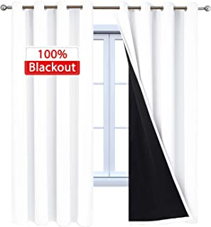 Yakamok Pure White Complete 100% Blackout Curtain Set, 2 Thick Layers Completely Blackout Curtains Thermal Insulated Noise Reducing Drapes for Bedroom(52Wx96L, Pure White, 2 Panels)