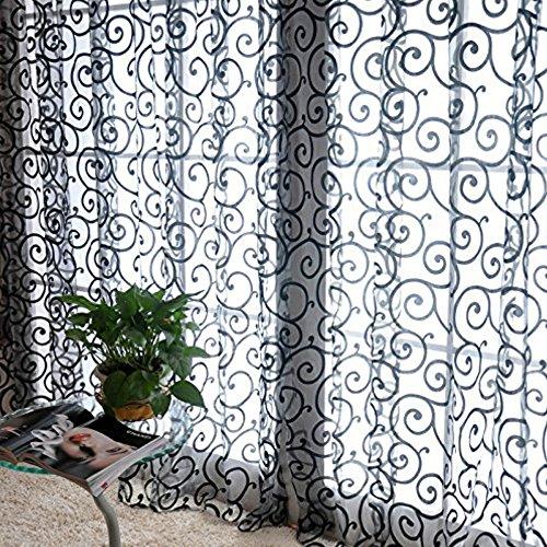 QHGstore Fresh tulle floreale porta sciarpa del voile Mantovane copre le tende di finestra pura, include unica finestra di screening, che non includono le tende Nero