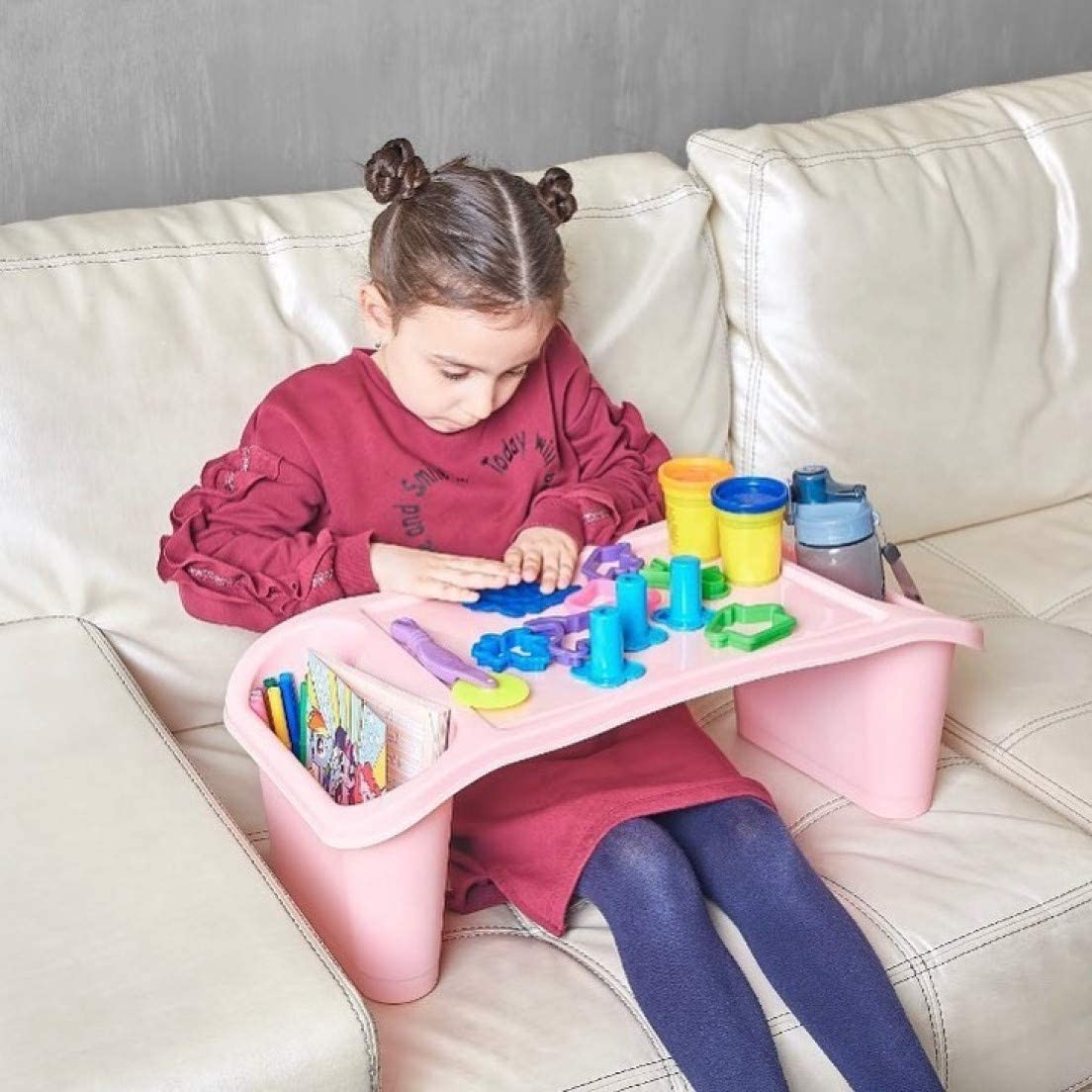 Portable Children Activity Table Large Student Desk Indoor /& Outdoor Multifunctional Activity Tray for Kids Toddlers Boys Girls Blue Multi Purpose Travel Tray Bed Tray Sofa Table