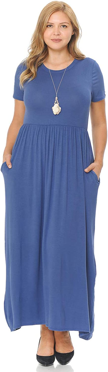 Pastel by Vivienne Women's Short Sleeve Maxi Dress with Pockets in Plus Size