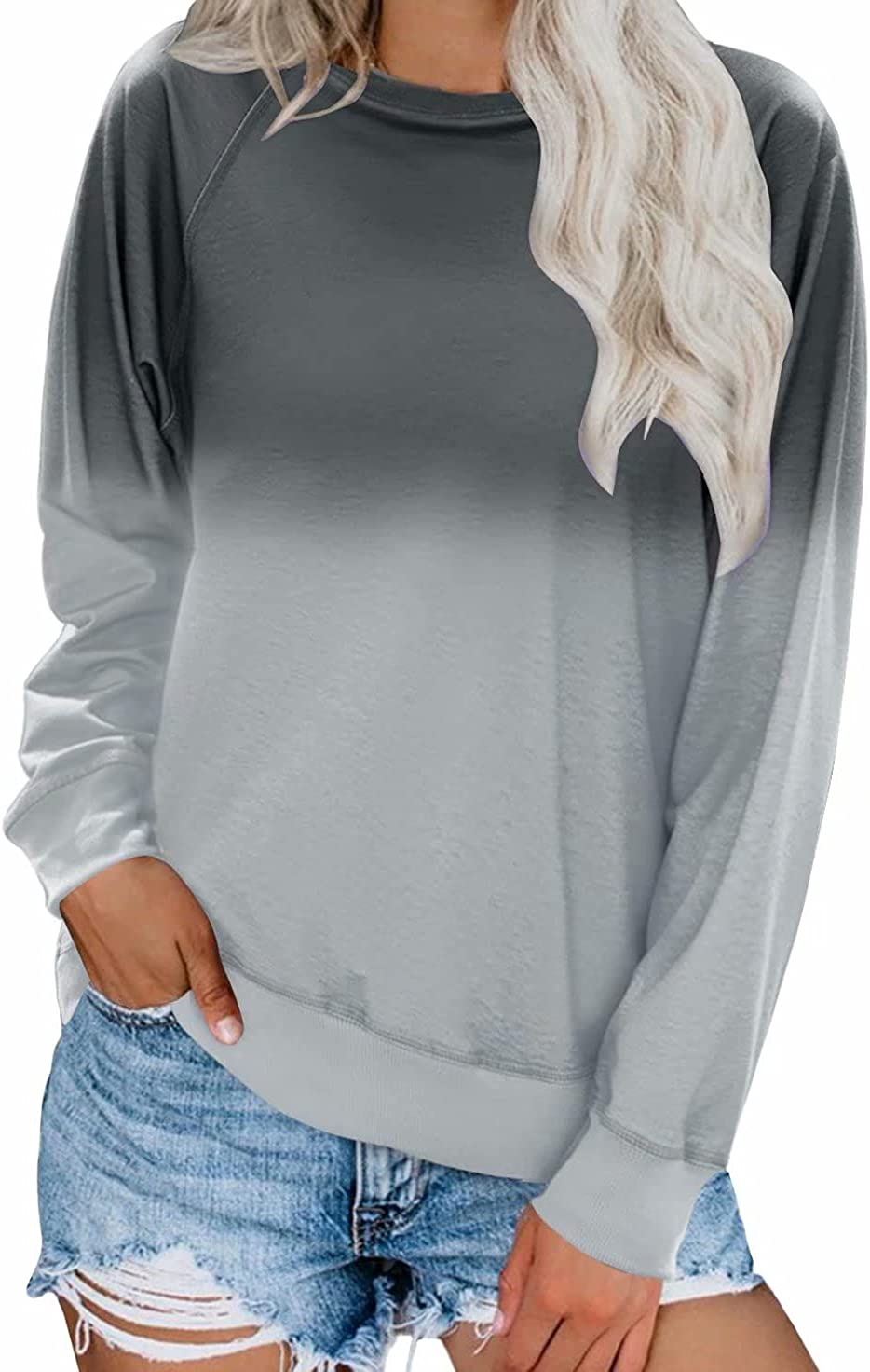 Dokotoo Womens Sweatshirt Ladies Raglan Long Sleeve Crewneck Color Block Tie Dye Sweatshirt Pullovers Casual T-Shirts Tops and Blouses XX-Large