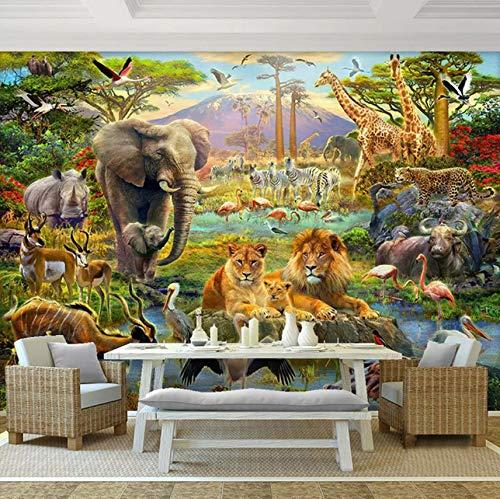 Wuyii aangepaste 3D Fotobehang Muurschilderingen Cartoon Bos Dier Wereld Kinderen Slaapkamer Lifant Lion Muurschildering Behang 3D 250 x 175 cm.