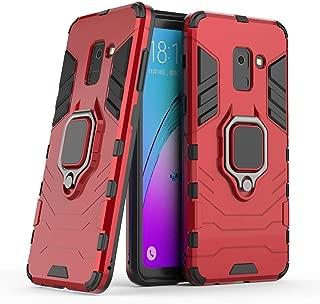 Compatible con Galaxy A8 (2018) Funda, Anillo Metálico Sujeción Soporte Antichoque Rígido Caja (Funciona con el Montaje de Coche Magnético) Doble Capa Sólido Case Carcasa para Samsung Galaxy A8 2018 (Rojo)