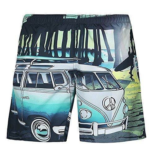 Uiophjkl Vrije tijd gezellige Cartoon Bus Print Zomer Strand Broeken Cool Men's Swim Trunks Geschikt voor outdoor watersporten