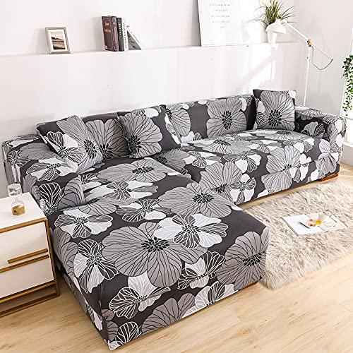 ASCV Juego de Fundas elásticas para sofá Fundas de sofá seccionales con Estampado de Hojas pastorales Decorativas Protector de sofá en Forma de L Envoltura Todo Incluido A6 4 plazas