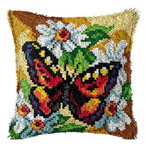 Kits De Cojín De Gancho De Pestillo Flor Mariposa Mariposa Cubierta De Cojín Pre-Impreso DIY Hilado De Ganchillo Caja De Almohada Decoración del Hogar