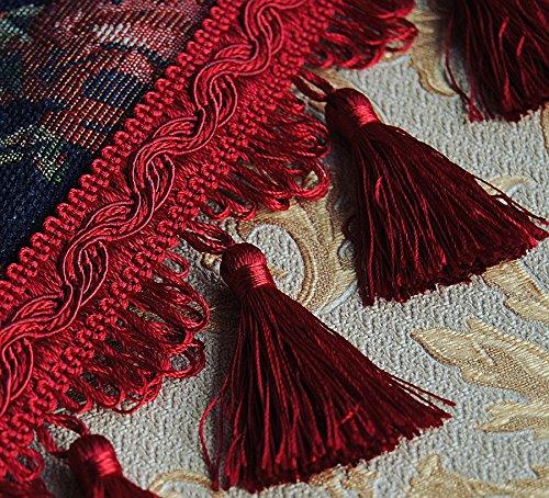 Luxus Quastenborte / Breite 80 mm / Farbe Rot / Meterware Posamentenborte Fransenborte m.Quasten m.Troddeln Dekoborte Zierborte m. Troddeln Vorhangborte Bordüre Bordüre Antik Jugendstil Barock