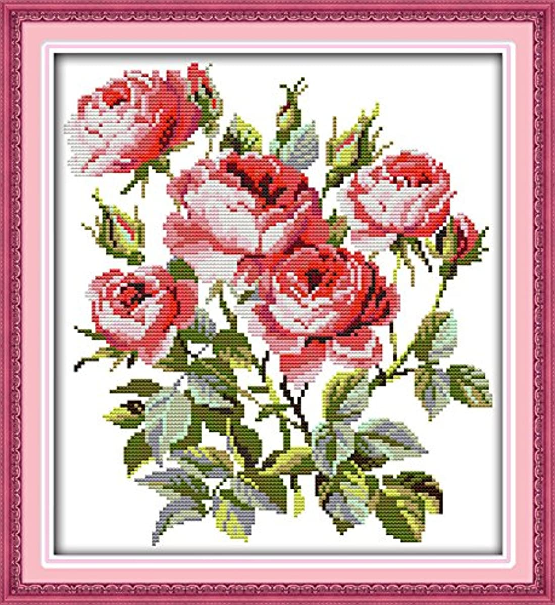 Joy Sunday? Cross Stitch Kit 11CT Stamped Embroidery Kits Precise Printed Needlework- Blooming roses 39×42CM