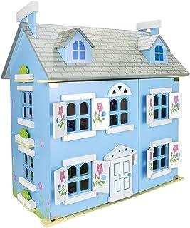 Leomark Vackra stora blå alpina dockhus för barn med möbler, uppsättning dockor, barnleksak dockhus för pojkar flickor