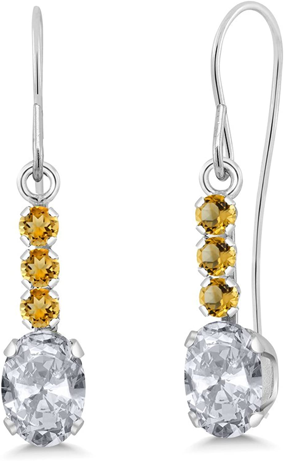 1.31 Ct Oval White Topaz and Yellow Simulated Citrine 10K White gold Earrings