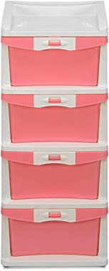 Nilkamal Chester 24 Series Plastic Four Drawer Cabinet (Pink and Cream)
