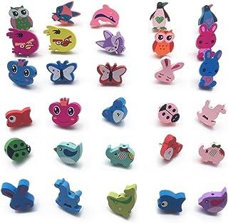Toosunny 30 Pcs Decorative Thumbtacks Lovely Animal Shape PushPins Cartoon Drawing Pins for Feature Wall, Whiteboard, Cork...