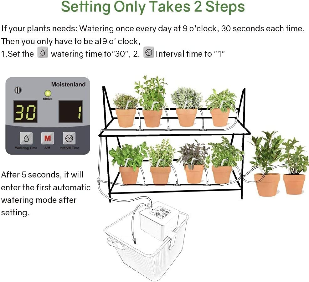 Automatic Watering System, DIY Automatic Drip Irrigation Kit Self Watering  System with Timer, USB Power Operation & 20 Day Programming Vacation Plant  ...
