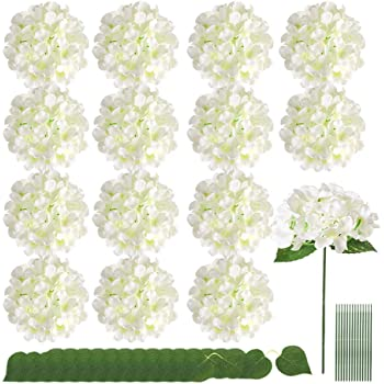 Auihiay 15 Pieces Silk Hydrangea Flowers Artificial Flowers Heads with Twin Leaves and Stems for Home Wedding Party Decorations(Ivory)