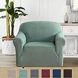 BellaHills Dicke 1 Sitzer Sofabezüge für 2-Kissen-Couch Stilvolle Muster-Sofabezüge für Sofa Stretch Jacquard Sofa Schonbezug für Wohnzimmer Hund Haustier Möbelschutz (2 Sitzer, Salbei) - 2