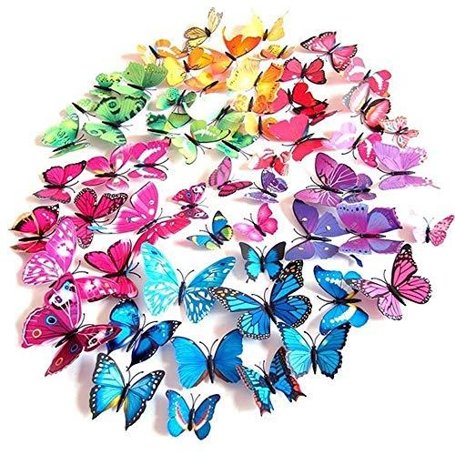 Durshani 72 x Autocollants muraux PAPILLIONS 3D pour décoration - Bleu Violet Vert Jaune Rose - pour Mariages, projets créatifs, Fleurs, Saint-Valentin, Paque by