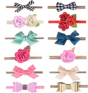 inSowni 12 Pack Flower Bow Nylon Headbands Hairbow for Infant Baby Girl Toddlers