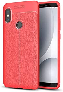 حافظة بلاستيكية مرنة مع ظهر شبه جلدي ، غطاء لجهاز Xiaomi Redmi Note 5 AI Edition (Note 5 Pro) (أحمر)
