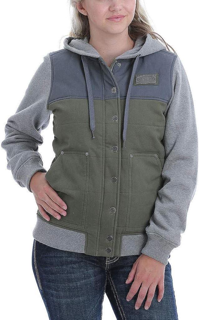 Cinch Western Jacket Womens Canvas Las Vegas Mall Max 80% OFF MAJ986 Snap Logo Patch Hooded