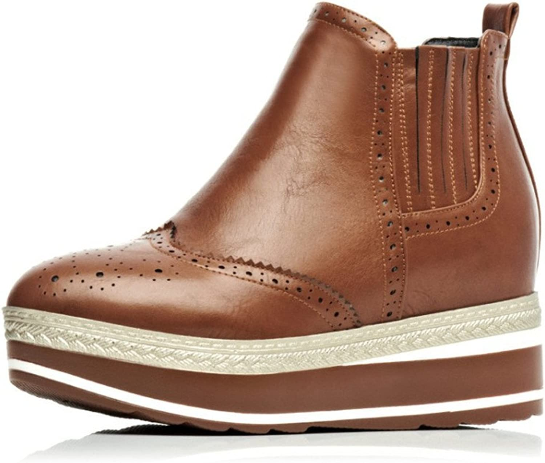 Lucksender Womens Carved Round Toe Platform Wedge Heels Ankle Boots