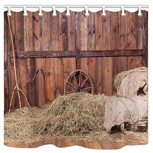 VinMea douchegordijn, Hay Bale hout westerse schuur achtergrond cowboy thema landelijk leven polyester waterdichte stof met haken