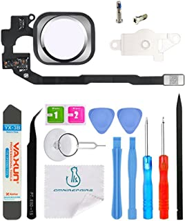 OmniRepairs Touch Home Button Flex Cable Replacement with Rubber Gasket and Screws (2) for iPhone 5s and iPhone SE with Repair Toolkit (Silver)