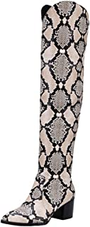 Women's Sexy Snake Patterned Burnished Pointed Toe Block Medium Heel Pull on Above The Knee Long Boots
