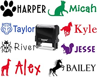 50+ Images to Choose from - Custom Name Stamp for Adults and Kids! Self Inking Name Stamper. Change Your Font Too! Children's Signature Stamper, School Sport or Library Book Label.