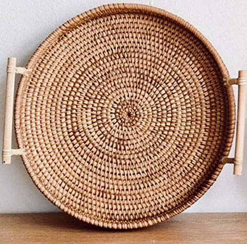 Handcraft Rattan Woven Round Serving Tray for Bread Fruit Snack Platter...
