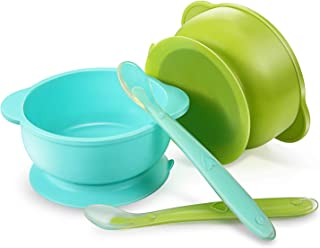PandaEar Set of 2 Silicone Stay Put Suction Bowls | Large Cup Base| Food Grade Soft Safe BPA-Free Silicone | Babies Toddlers Infants | (Blue & Green)