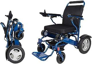 SLRMKK Silla de Ruedas Plegable portátil, Silla de Ruedas eléctrica de aleación de Aluminio, Silla de Ruedas Inteligente portátil para discapacitados, Plegable, para Ancianos, Azul