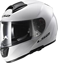 LS2 Helmets Citation Solid Full Face Motorcycle Helmet with Sunshield (White, Large)