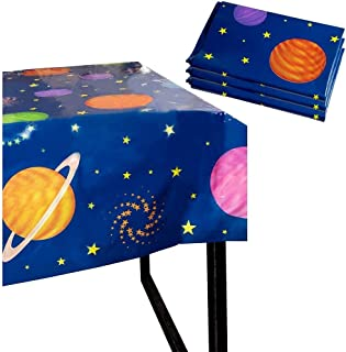 Outer Space Party Tablecloth - 3-Pack Disposable Plastic Rectangular Table Covers - Solar Planet Themed Party Supplies for...