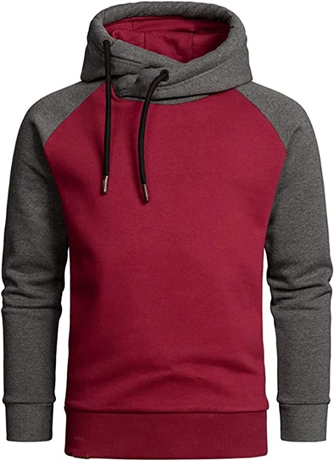 XXBR Hoodies for Mens, Cowl Neck Drawstring Hooded Sweatshirts Color Block Patchwork Sports Workout Casual Pullover