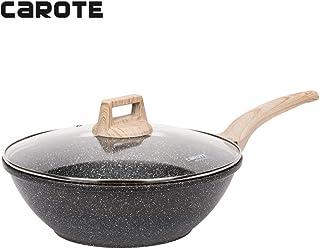 Carote Nonstick Woks and Stir Fry Pans with Glass Lid,Granite Coating Wok Pan,12-Inch,Black