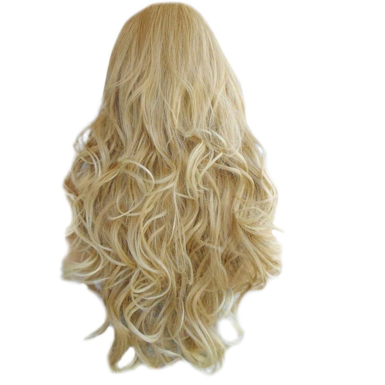 華氏パテ紀元前Feteso 新しい シンデレラ かつら 長い巻き毛 ライトゴールド コスプレ アニメウィッグ Fashion Gold Long Curly Hair Wig Synthetic Water Wave Long Hair Wigs