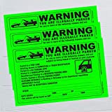 (50) Parking Violation Sticker - Vehicle Illegally Parked Tow Notice - Parking Violation Notice - No Parking Warning Stickers - Scrap to Remove Stickers Neon Green 5.5 x 7.5 - Made in The U.S.A.