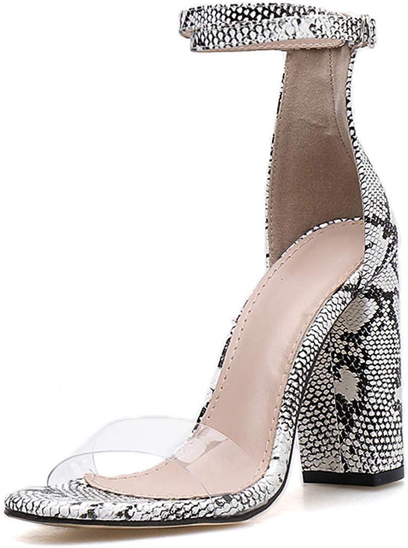 SaraIris Women's Open Toe Chunky High Heel Clear Transparent Snakeskin Pattern Sandals