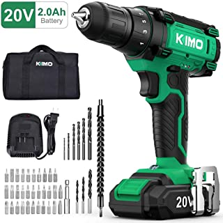 Cordless Drill Driver Kit – 20V Max Impact Drill Set w/Lithium-Ion Battery &..