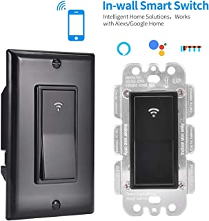 TOHUU WiFi Smart Light Switch,Smart Switches Work with Alexa Google Home,in-Wall Timer Switch Wireless Remote Control for Light No Hub Required,FCC Listed(Black)