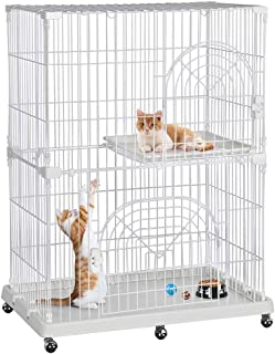 Yaheetech Multi-Tier Rolling Large Wire Pet Cat Kitten Cage Crate Playpen Enclosure with Shelves Indoor