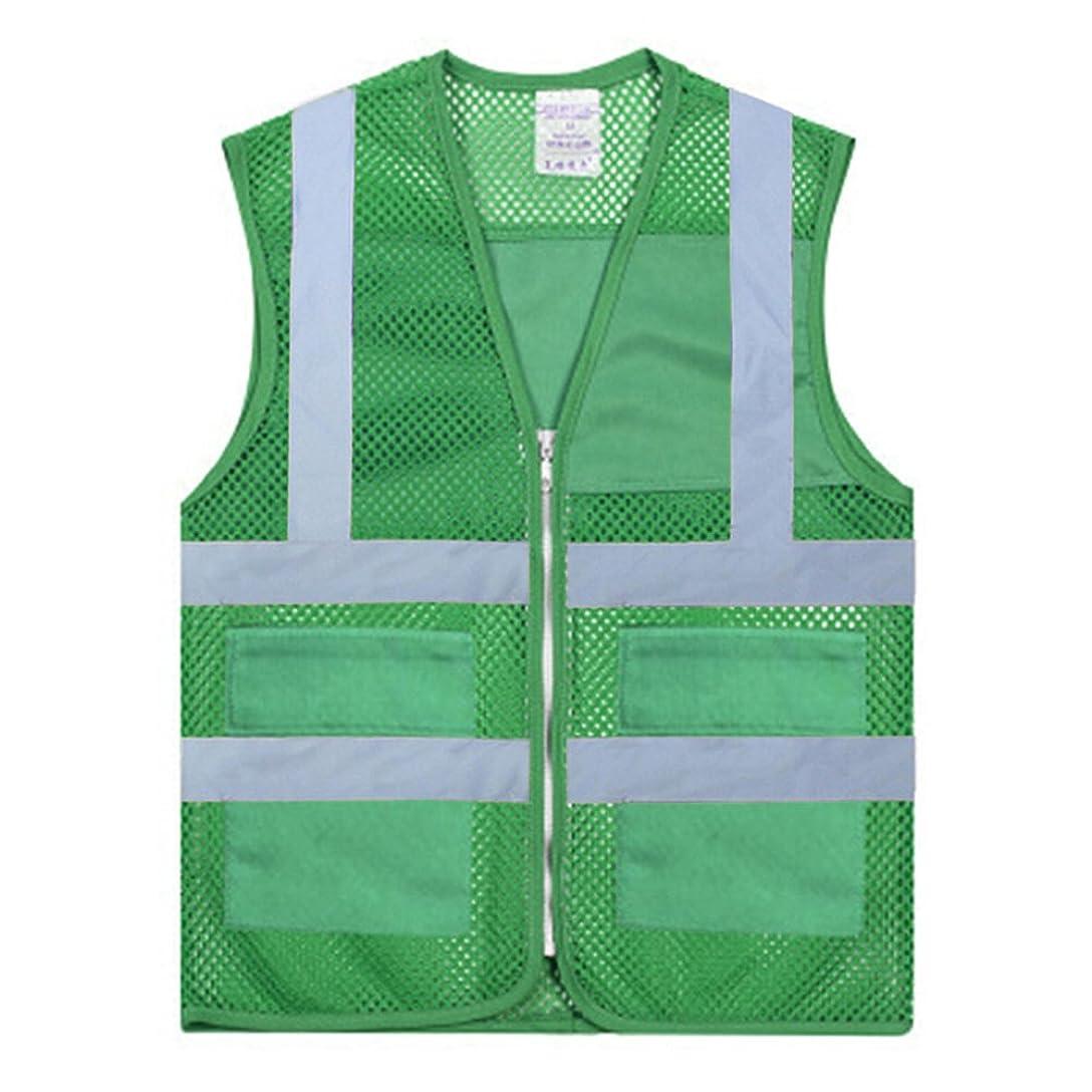 四アレルギー性先行するTOPTIE 50ピース安全ベスト2ポケット高視認性ジッパーフロントメッシュボランティアベスト卸売 - グリーン - M