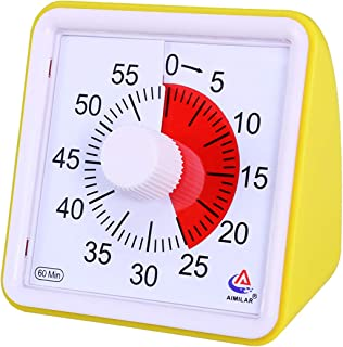 AIMILAR 60 Minute Visual Timer - Silent Timer Time Management Tool for Classroom or Meeting Countdown Clock for Kids and Adults (Yellow)
