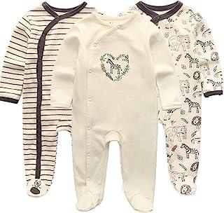Kiddiezoom Baby Jungen Pyjama, eng-anliegend mit integrierten Schuhen, langarm, Baumwolle Gr. 50, Zebra&Elefant&Löwe