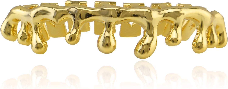 OOCC 18k Gold Teardrop Bottom Grillz 6 Teeth Lower Teeth Drip Cap Grillz