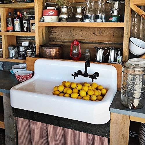 Vintage Tub & Bath Cora 42 Inch Cast Iron Farmhouse Drainboard Sink - 8 Inch Faucet Drillings - White