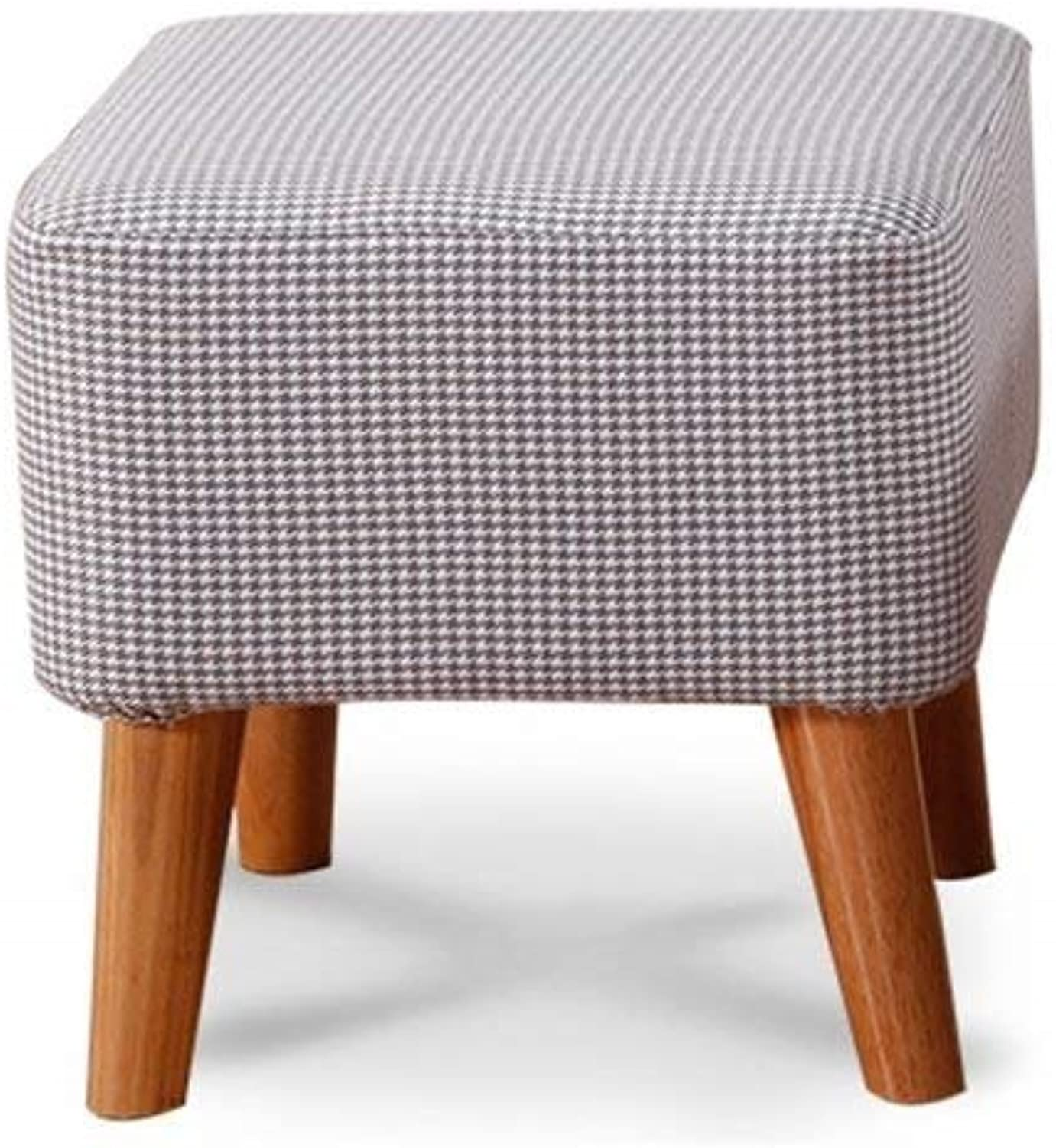 Modern Simple Sofa Stool Removable Washable shoes Bench Dressing Table Stool Solid Wood Bench Length 16×Width 16×High 16inch (color    7)