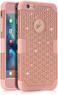 iPhone SE Case Pandawell™ Hybrid Heavy Duty Shockproof Diamond Studded Bling Rhinestone Case with Dual Layer [Hard PC+ Soft Silicone] Impact Protection for Apple iPhone SE / 5S - Rose Gold